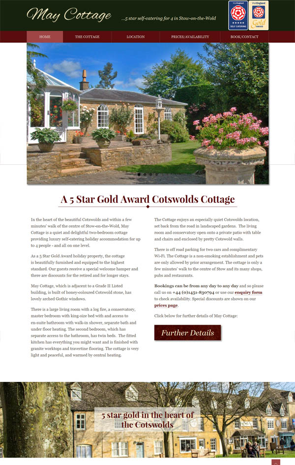 Stow on the Wold cottage website