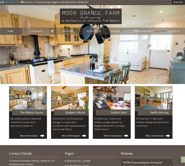 Peak District holiday cottage website