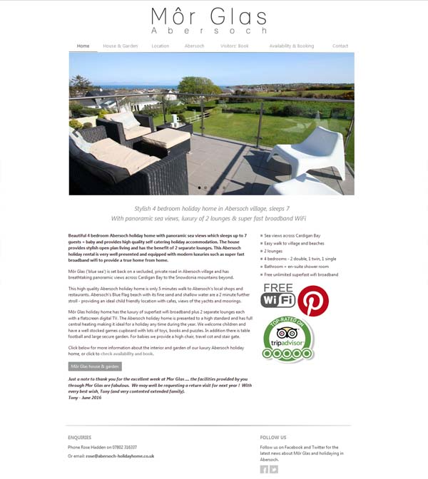 Abersoch holiday home website