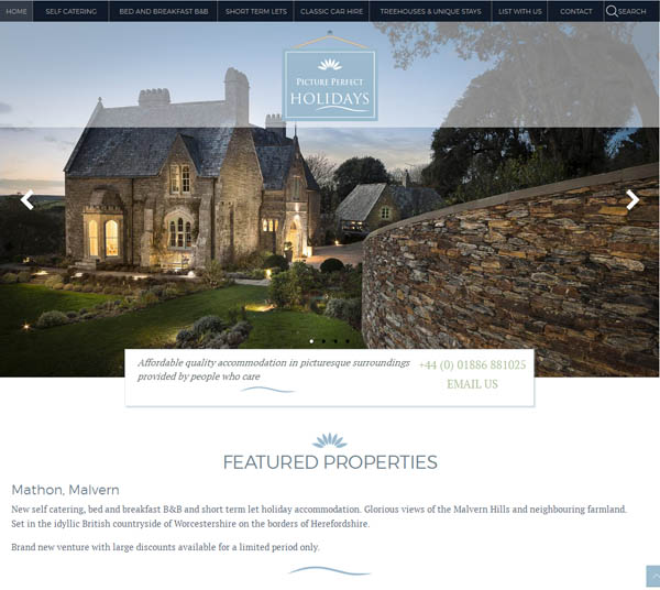 Malvern self catering website