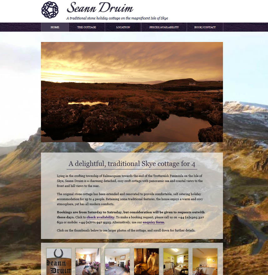 Isle of Skye cottage website