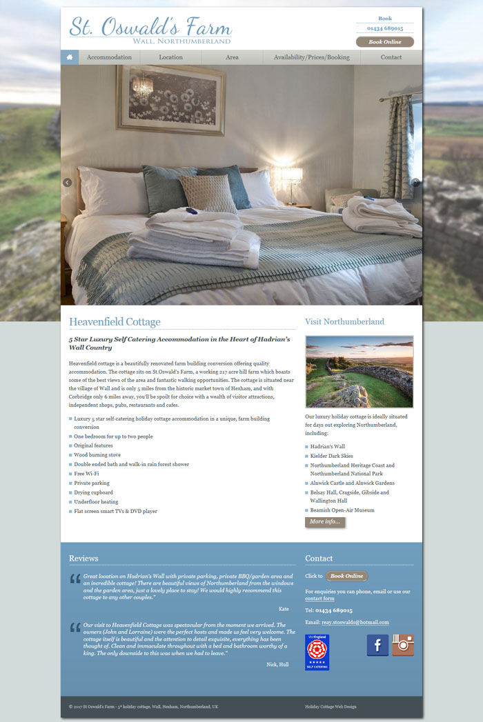 Hexham cottage website