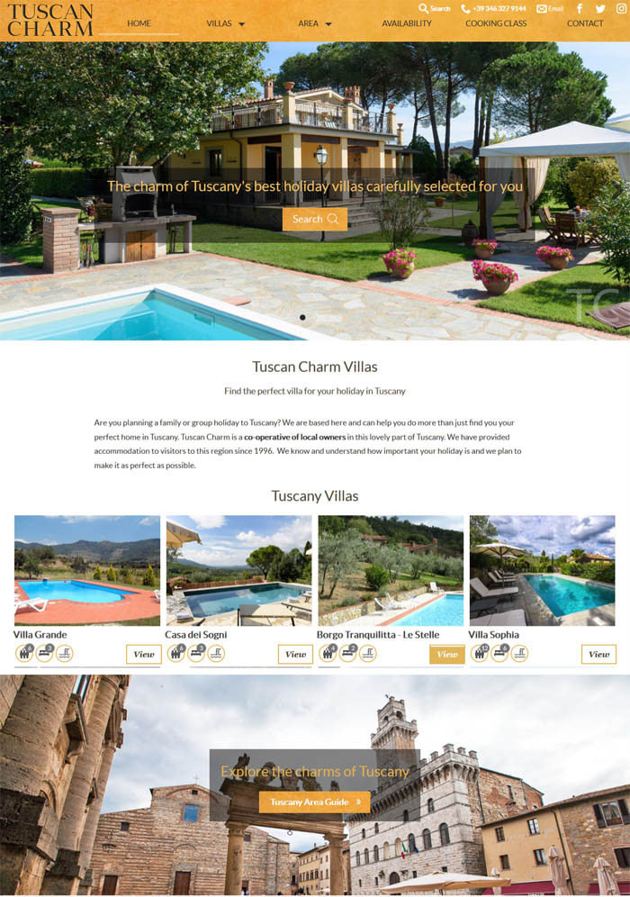 Tuscany villas agency website
